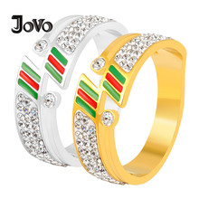 цена на JOVO LOVE Fashion Titanium Steel Rings Gold Silver Cubic Zircon Rings Famous Brand Ladies Couple Stainless Steel Rings For Women