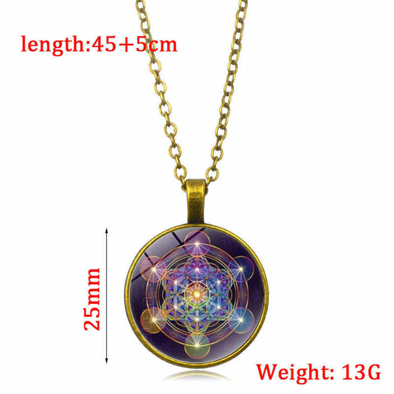Kobiety dziewczyna moda szklana kopuła świecące w ciemności naszyjnik boska geometria lśniący naszyjnik sweter długi łańcuszek biżuteria