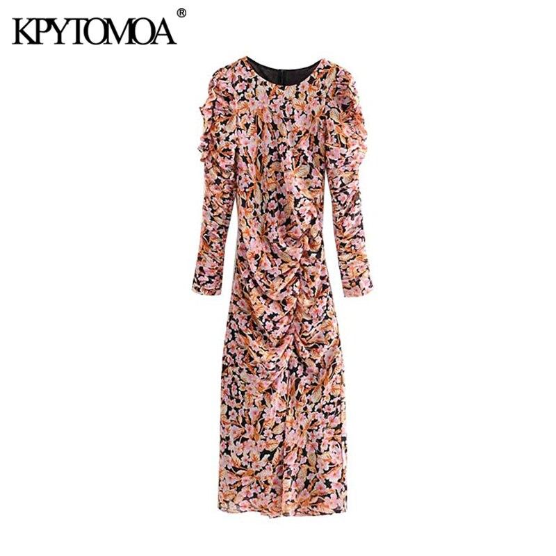 Vintage Elegant Floral Print Draped Maxi Dress Women 2020 Fashion O Neck Long Sleeve Back Zipper Female Dresses Vestidos Mujer