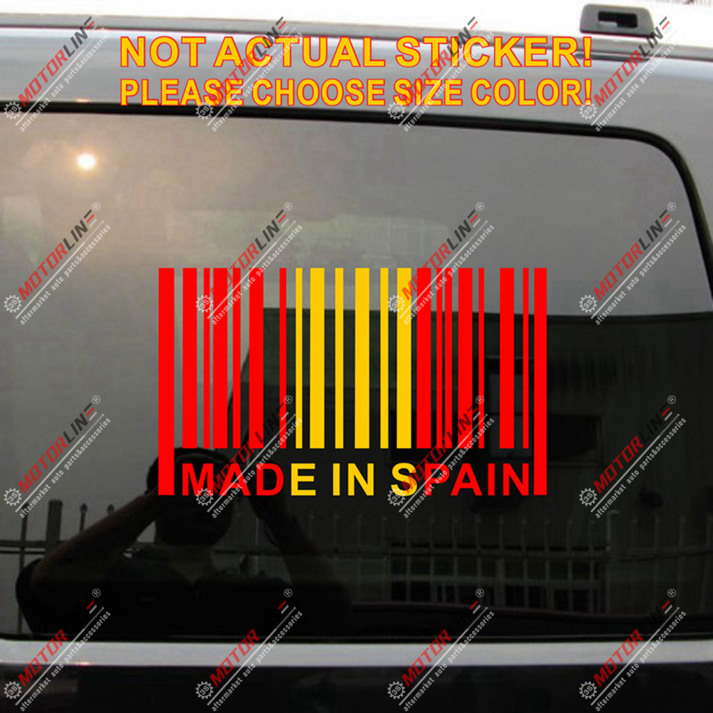 Made In Spain Barcode Decal Sticker Car Vinyl Funny Spanish Flag color Espana