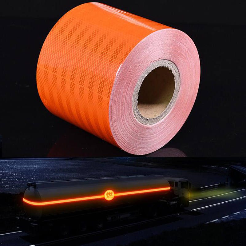 15cmx10m Orange With Car Reflective Stickers Warning Tape