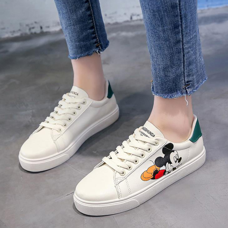 2020 New Spring Women's Shoes Mickey Small White Shoes Versatile Lace-Up Board Shoes Leisure Shallow Mouth Women's Sports Shoes
