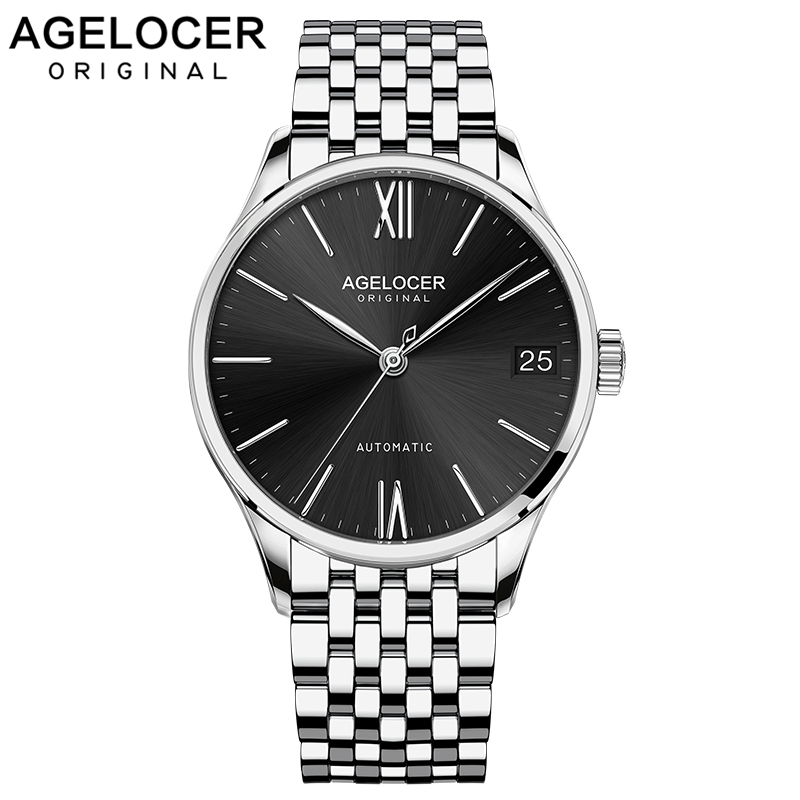 Agelocer 2019 Luxury Watch Men Automatic Black Sapphire Watch Top Brand Luxury Waterproof Stainless Steel Day Date Watch 7072A9