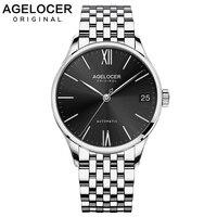 Agelocer 2019 Luxus Uhr Männer Automatische Schwarz Sapphire Uhr Top Marke Luxus Wasserdichte Edelstahl Tag Datum Uhr 7072A9