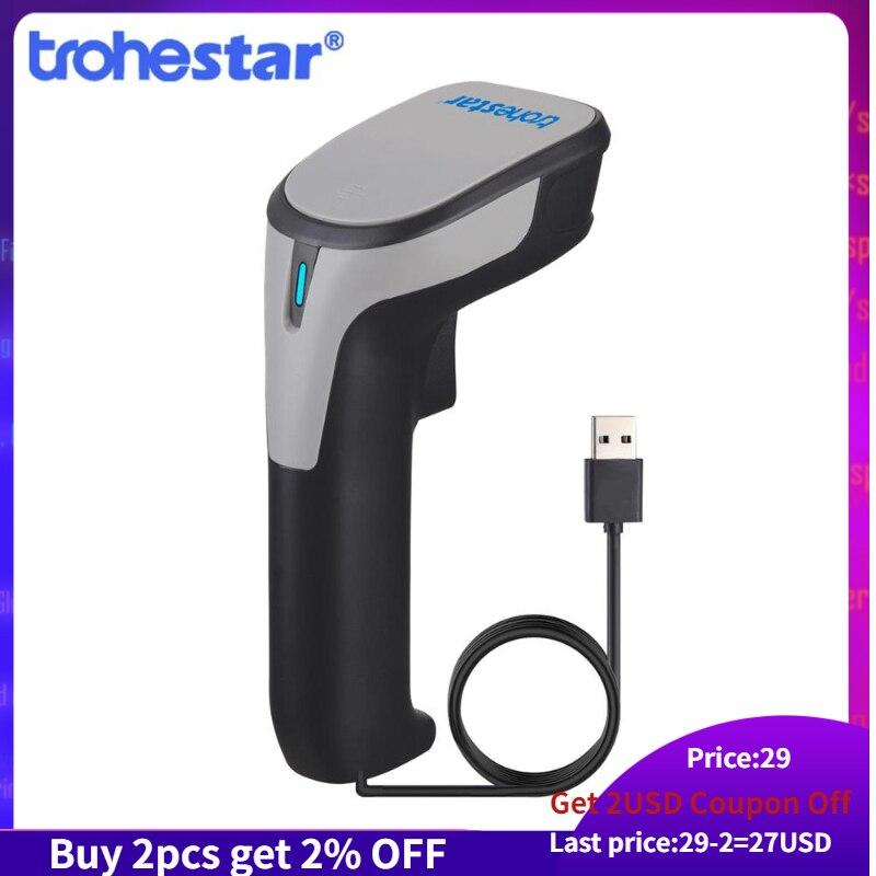 Trohestar com fio varredor 1d 2d qr código de barras leitor inventário handheld scanners para o coletor de data do armazém do supermercado