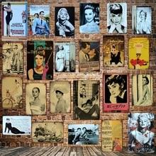[ DecorMan ] Hepburn Roman holiday Tin Signs Custom wholesale Movie Metal Paintings Bar PUB Decor LT-1764