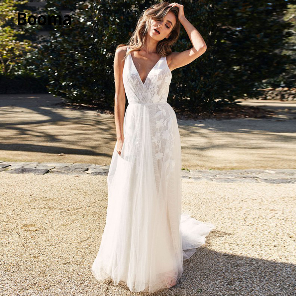 Booma Wedding Dresses Tulle 2019 Lace Beach Wedding Gowns V-neck Sleeveless Backless Boho Bridal Gowns Country Gelinlik Simple