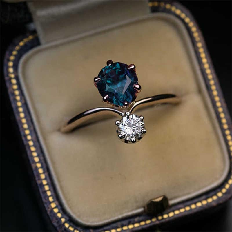 Huitan 빈티지 로즈 골드 컬러 6 클로 독특한 모양의 여성 반지 완벽한 폴란드어 웨딩 약혼 파티 신부의 반지 우아한 선물