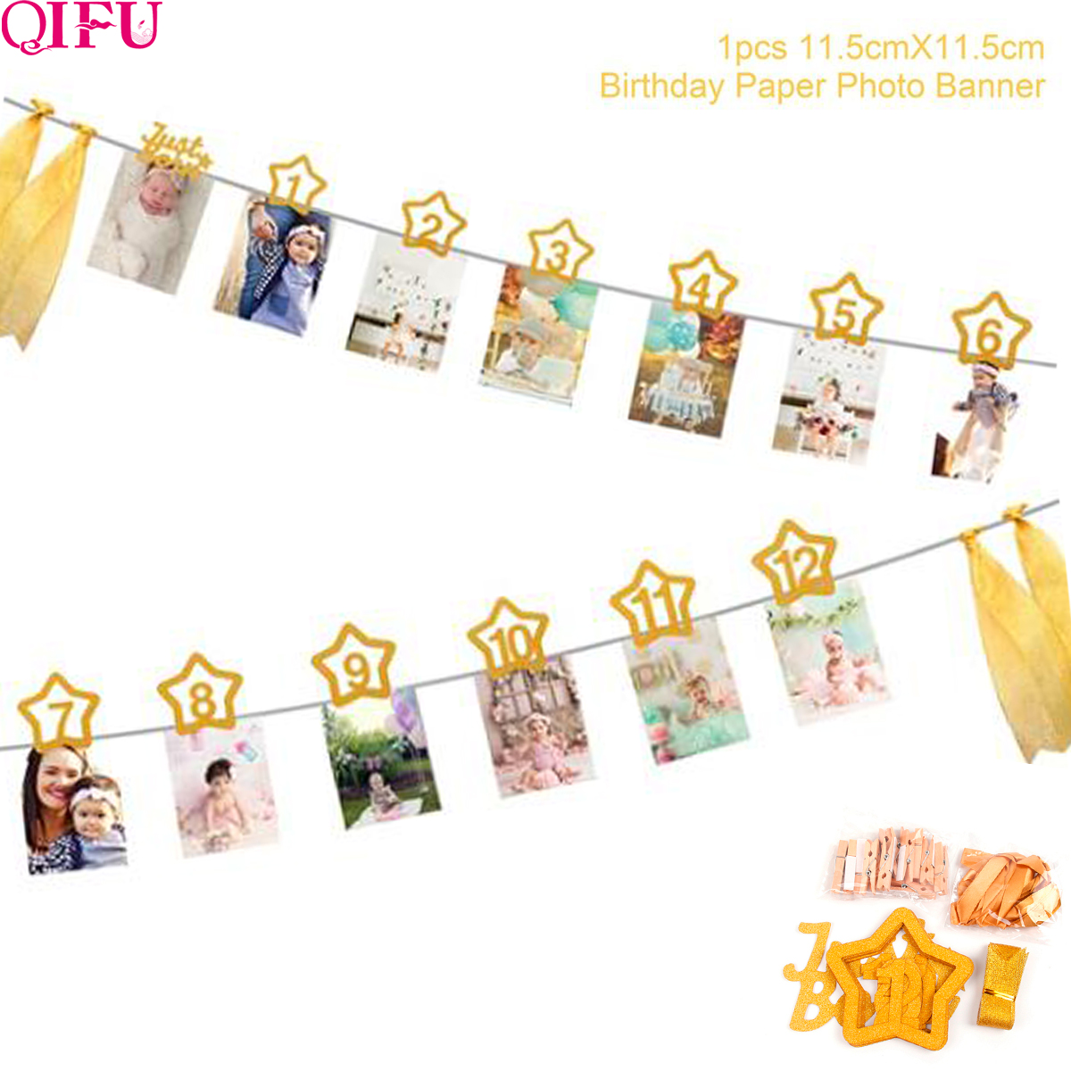 12 Months Photo Frame Banner Happy Birthday Banner First Birthday Boy Girl Party 1st birthday Baby Shower Baby Birthday Decor