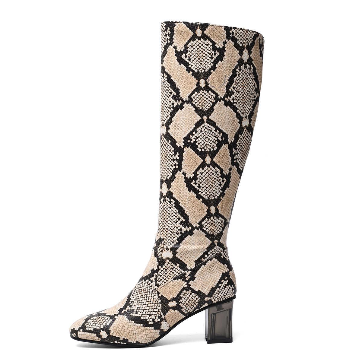 เสือดาวพิมพ์งูเข่ารองเท้าบูทสูงสำหรับผู้หญิง Chunky Heel รอบ Toe รองเท้าผู้หญิง 2019 ซิปฤดูหนาวรองเท้าบูทยี่ห้อรองเท้าสีดำ