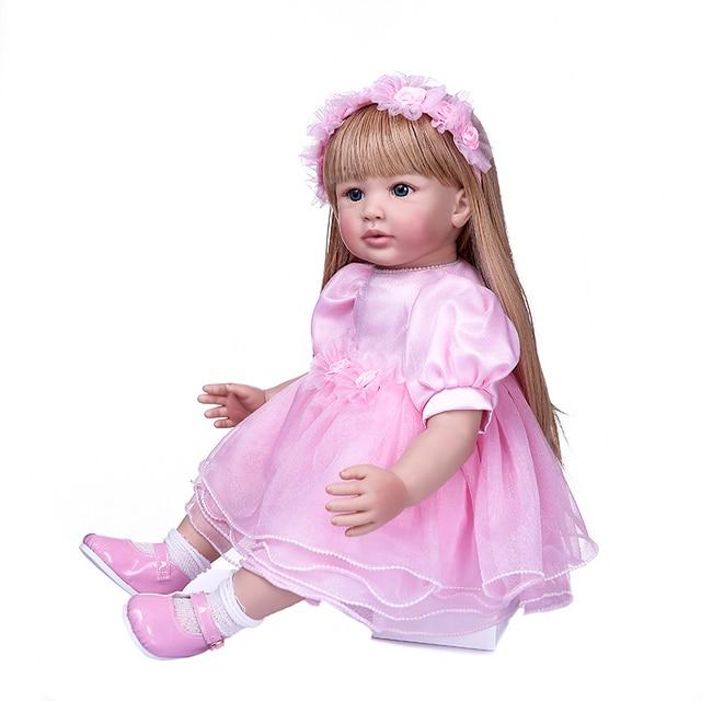 Reborn Toddler Girl Princess in Pink Skirt Bebe Doll Long Blond Hair 2