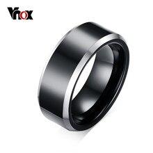 Vnox noir 8mm véritable carbure de tungstène anneaux pour hommes fête bijoux Simple lisse taille 7 8 9 10 11 12