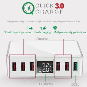 Image 5 - 6 Ports USB Charger QC 3.0 Fast Charging Smart LCD Digital Display Multi Port Travel Charger Station Quick Charge USB Charging