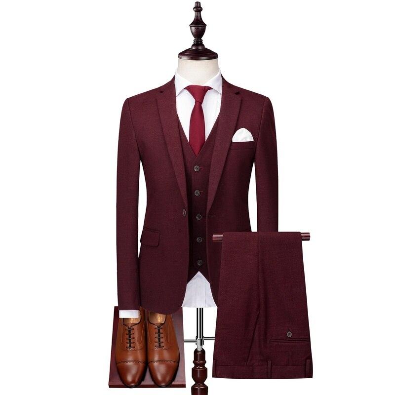 Formal Smoking 3 Pieces Wine Red Slim Fit Suit Business Suit Casual Classic Wedding Clothing Mens Suits Set (Jacket+Pants+Vest)