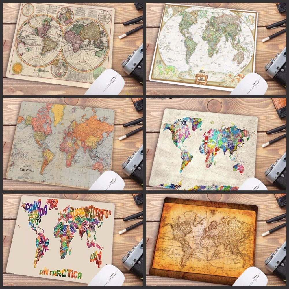 Mairuige Big Promotion Computer Mouse Pad With Small Size 180X220X2MM World Map Printings PC Mousemat Smooth Soft Anti-Slip