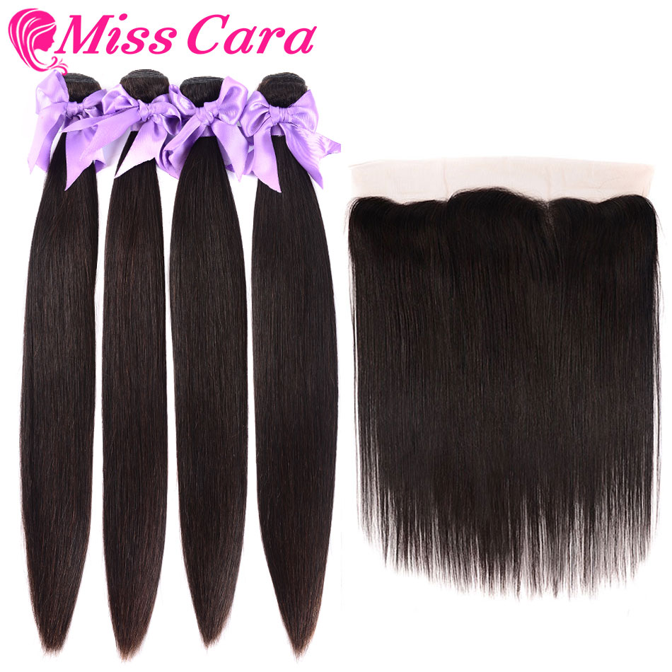 Miss Cara Malaysian Straight Hair Bundles With Frontal 100% Remy Human Hair 3 Bundles With Closure 13*4 Frontal With Bundles