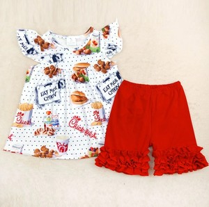 New arrival Summer girl baby clothes Boutique Clothes outfit hamburger fries cow print tunic ruffle kid icing ruffle sets(China)