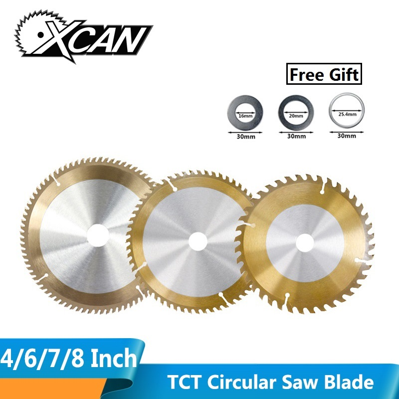 XCAN 1pc TiCN Coating TCT Circular Saw Blade 4/6/7/8 Inch 30/40/60 Teeth Carbide Tipped Wood Cutting Disc Woodworking Saw Blade
