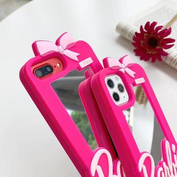 Korean Cartoon Babi Pink Bow Cute Girl Makeup Mirror Case for iPhone 12 mine 11 Pro X Max XR 6 7 8 Plus Silicone Accessory Cover