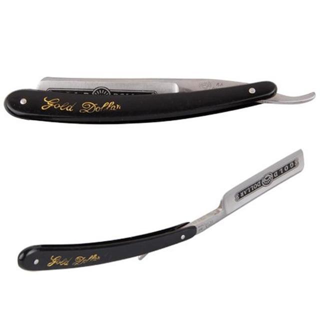 Gold Dollar 66 Classic Steel Straight Edge Salon Barber Shaving Razor Shaver Vintage Manual Shaver Best Gift for Dad Husband Men