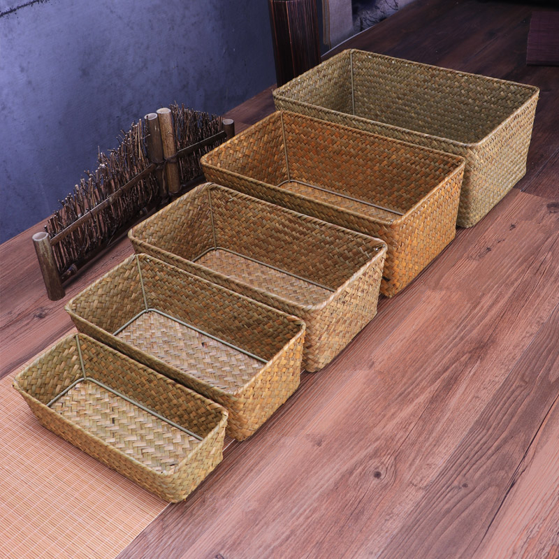 Natural Large woven seagrass Basket of Straw Wicker For home table Fruit Bread Towels Small Kitchen Storage Container set(China)