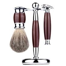 3 In 1 Men Luxury Manual Shaving Kit Beard Cleaning Brush Metal Shaver Razor Stand Holder Hair Trimmer Grooming Tool Set