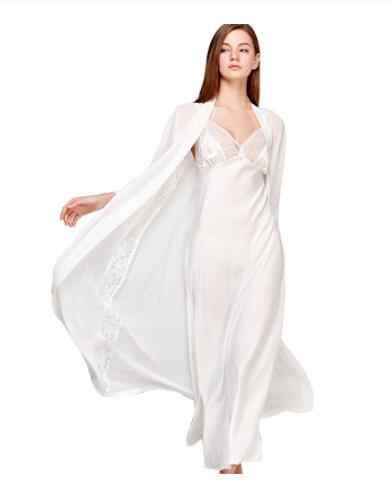 Sexy Sling Đầm Ngủ Dây 2 Giả Quần Áo Ngủ Lụa Nữ Thanh Lịch Phối Ren Dài Tay Váy Ngủ Áo Choàng Tắm t0008