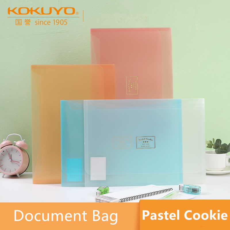 1pc WSG-KUCW311 KOKUYO A4 Pastel Cookie Series Document Bag Folder Translucent Double Pocket Easy To Sort Max Capacity 100Sheets