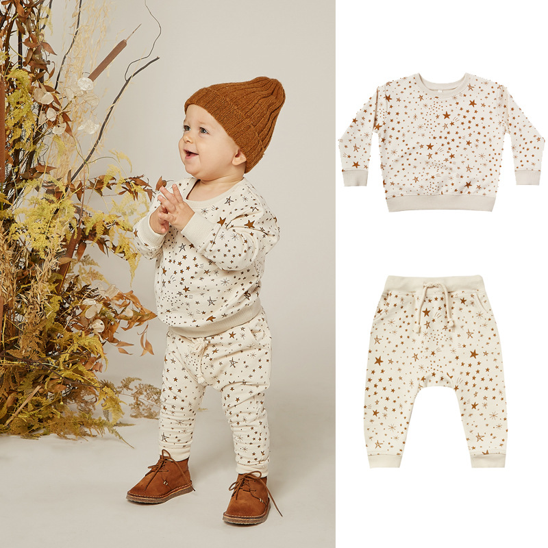 Kids Star Pattern Sweatshirts Pants Baby Girls Clothing Fashion Boys Brand Design Infant Rylee and Cru Toddler Clothes Boutique 2