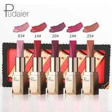 Pudaier 5 Colors Matte Lipstick Set Waterproof Long Lasting Lip Gloss Nude Velvet Pigment Batom Women Fashion Lip Makeup
