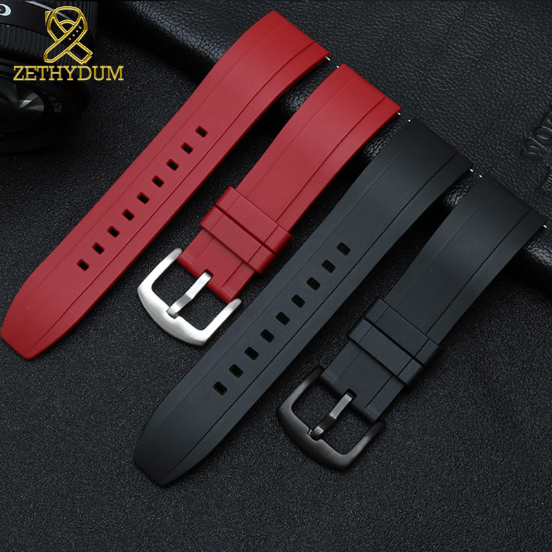 Image 3 - fluororubber watch strap Silicone Rubber bracelet quick release bar 22mm watchband for huawei watches other brands watch band-in Watchbands from Watches