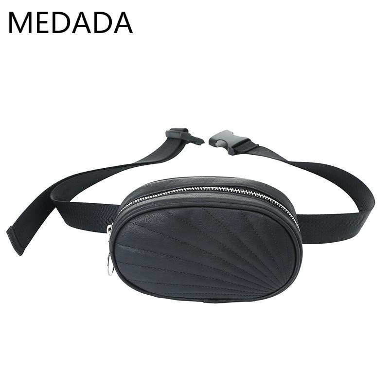 Medada New Fashion  Waist Bag Women PU Leather Fanny Pack Bags For Women Pack Waist Bag  Girls   Round Belt Bag  Chest Handbag