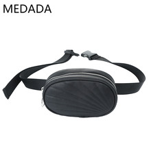 Medada New Fashion  Waist Bag Women PU Leather Fanny Pack Bags for Girls Round Belt Chest Handbag
