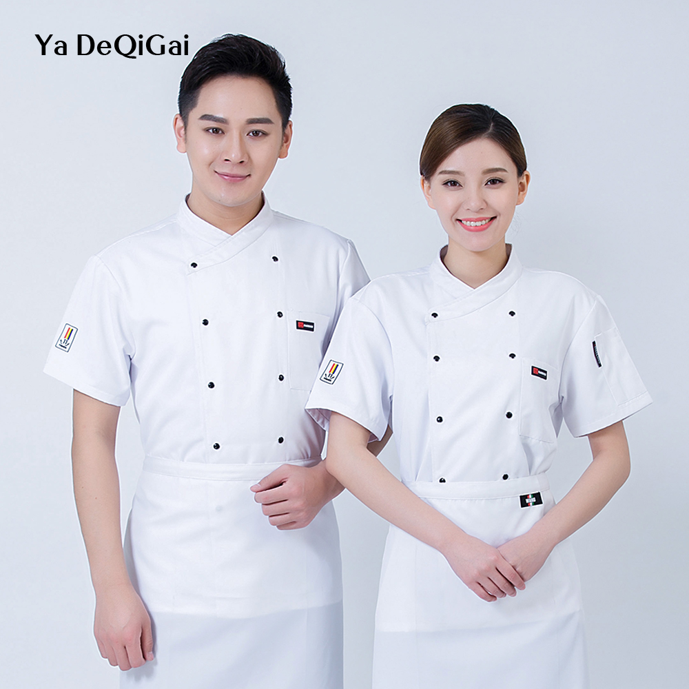 New Breathable Chef Uniform Machining Canteen Chef Jackets Casual Shirt Tooling Cake Hot Pot Shop Cuisine Bakers Short Sleeve