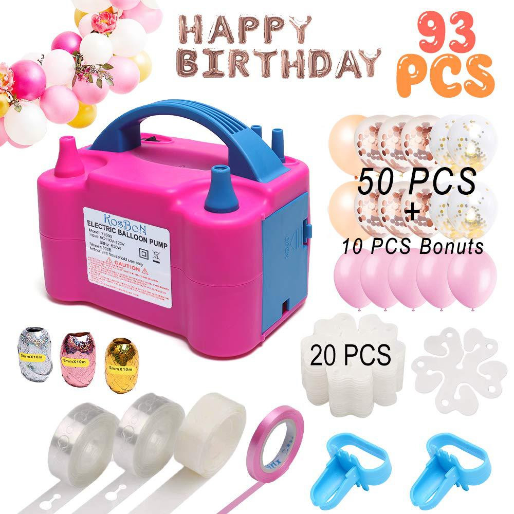 1 Set Happy Birthday Ballons Decorations Baby Shower Party Supplies With Portable Electric Balloon Pump Plug Double Hole Nozzle