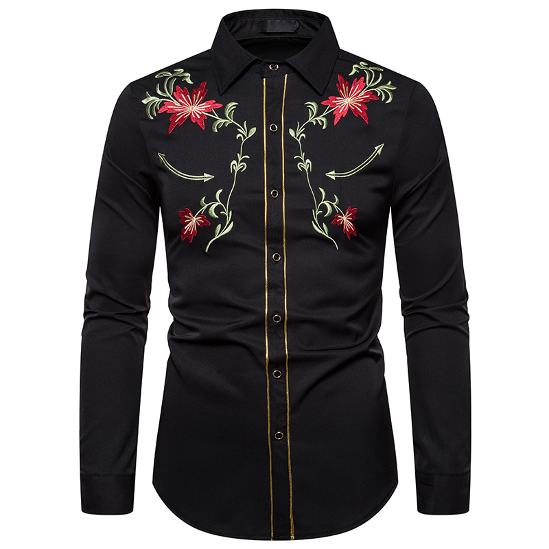 Men's Shirt Western Denim Flower Embroidered Shirt Slim Casual Long Sleeve Buttoned Shirt Men's National Wind Embroidered Shirt