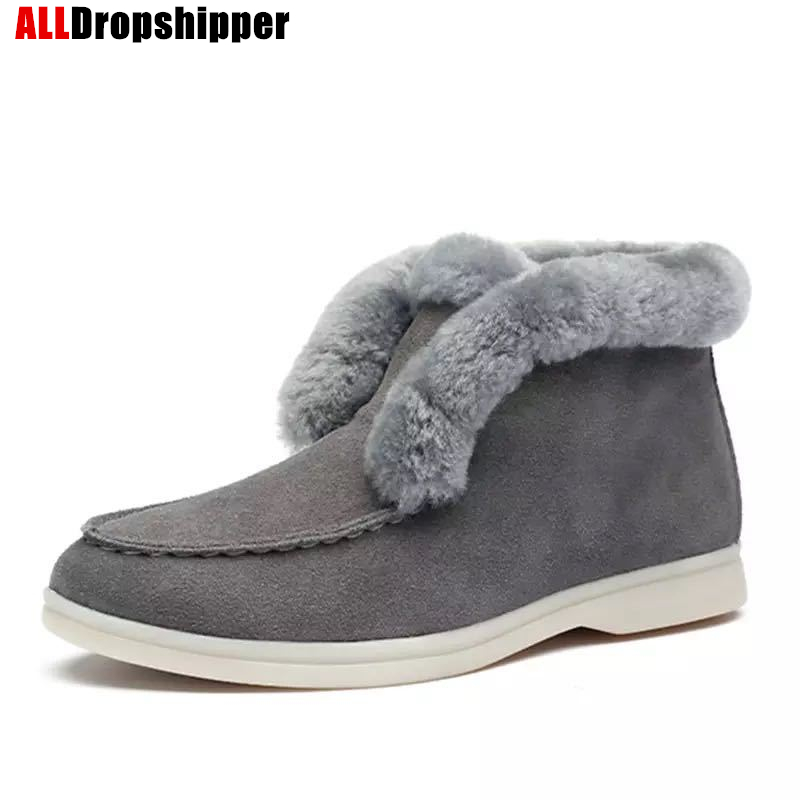 Ботильоны ботинки из коровьей замши теплые зимние ботинки на натуральном меху женские зимние ботинки без шнуровки, хлопковые тапочки обувь на плоской подошве 35 43|Обувь без каблука| | АлиЭкспресс
