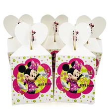 6PCS/lot Cartoon Minnie Mouse Candy Box Decoration Baby Shower Gift Party Happy Girls Birthday Supplies Child Favor