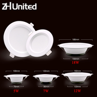 6 uds/12 Uds luz de techo LED downlight AC 220V 5W 7W 12W 18W lámpara empotrada blanco cálido/blanco frío bombilla dormitorio cocina interior