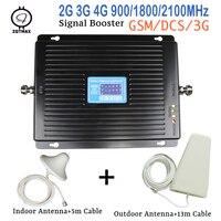 GSM 900 1800 WCDMA 2100 ثلاثي الموجات boost موبايل 3G 4G LTE 75dB موبايل الخلوية مكبر صوت أحادي هاتف محمول مكرر لأوروبا