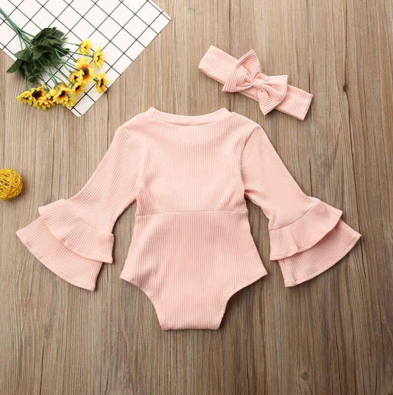 Ropa de Boutique para niña 2 uds. Ropa de punto para bebé recién nacido de invierno conjunto de rayas de manga larga Bodysuits trajes de mono talla 0-24M