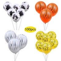 100pc 3.2g Tiger Zebra Cow Dog Animal Air Helium Latex Balloon for Kids Gift Birthday Party Decor Animal Zoo Theme Supplies Toys
