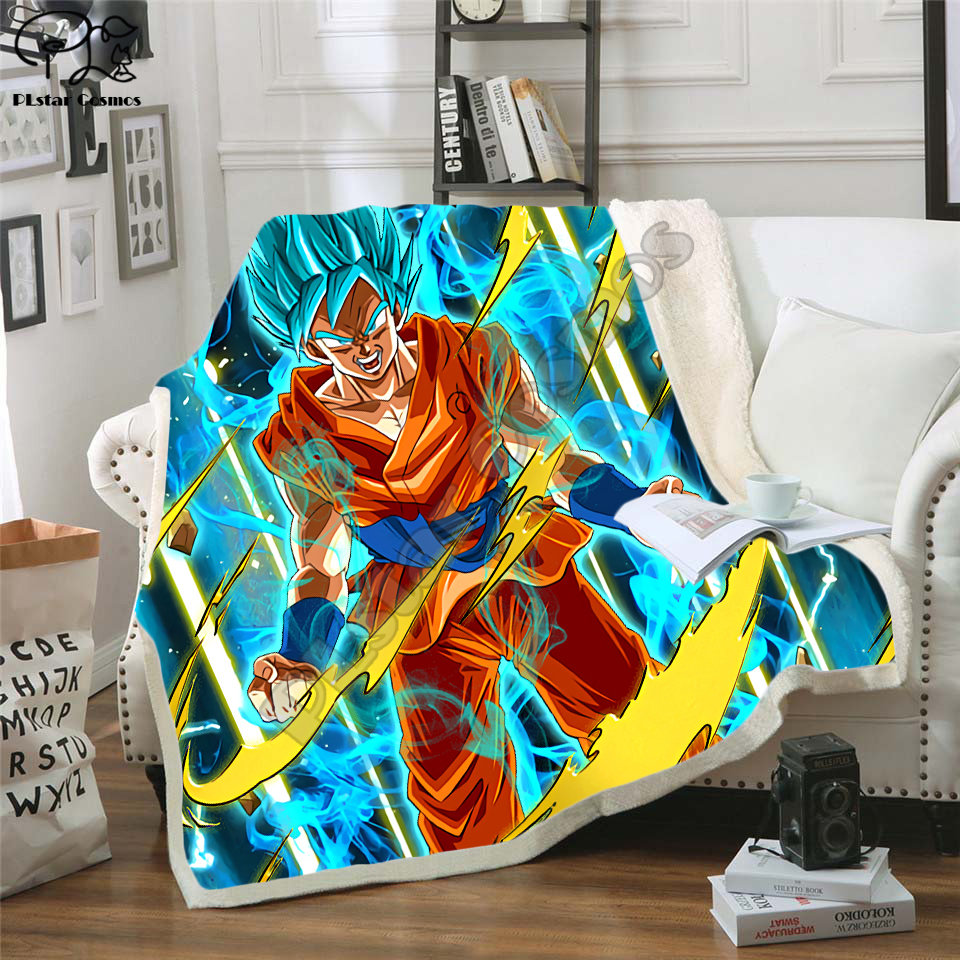 Newest Anime Dragon Ball 3D Printed Sherpa Blanket Couch Quilt Cover Travel Bedding Outlet Velvet Plush Throw Fleece Blanket 01