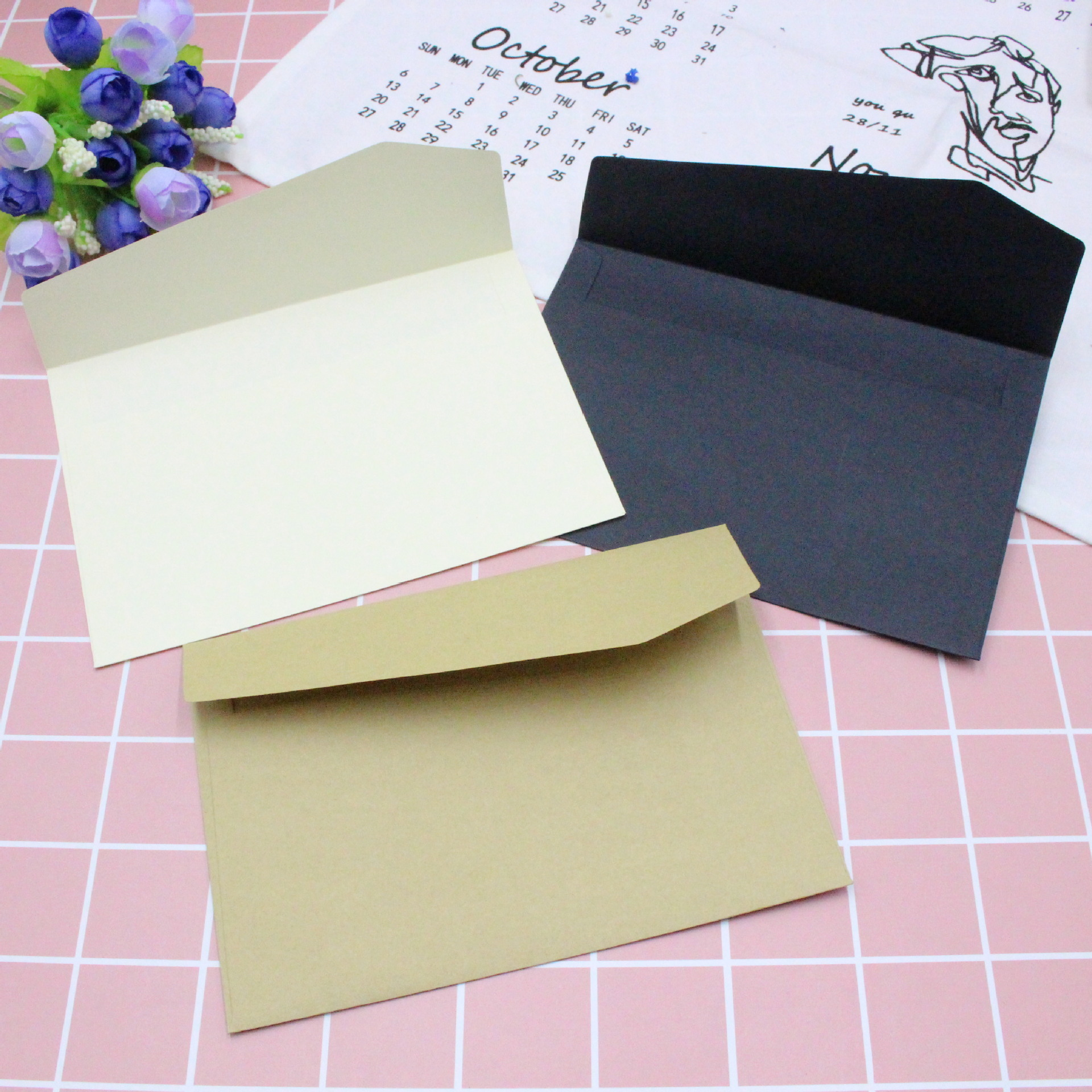 10PC Classical White Black Kraft Blank Mini Paper Window Envelopes Wedding Invitation Envelope Gift Envelope