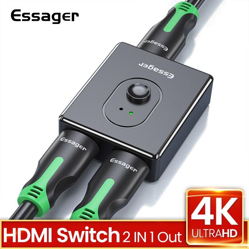 Essager hdmi divisor hd 4 k 1x 2/2x1 adaptador interruptor hdmi conector 2 em 1 para fora conversor hdmi switcher para ps4 xbox tv caixa portátil