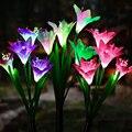 Цветочный светильник на солнечной батарее для лужайки Солнечный уличный светодиодный Лилия приведенный в действие ночной поддельные ламп...