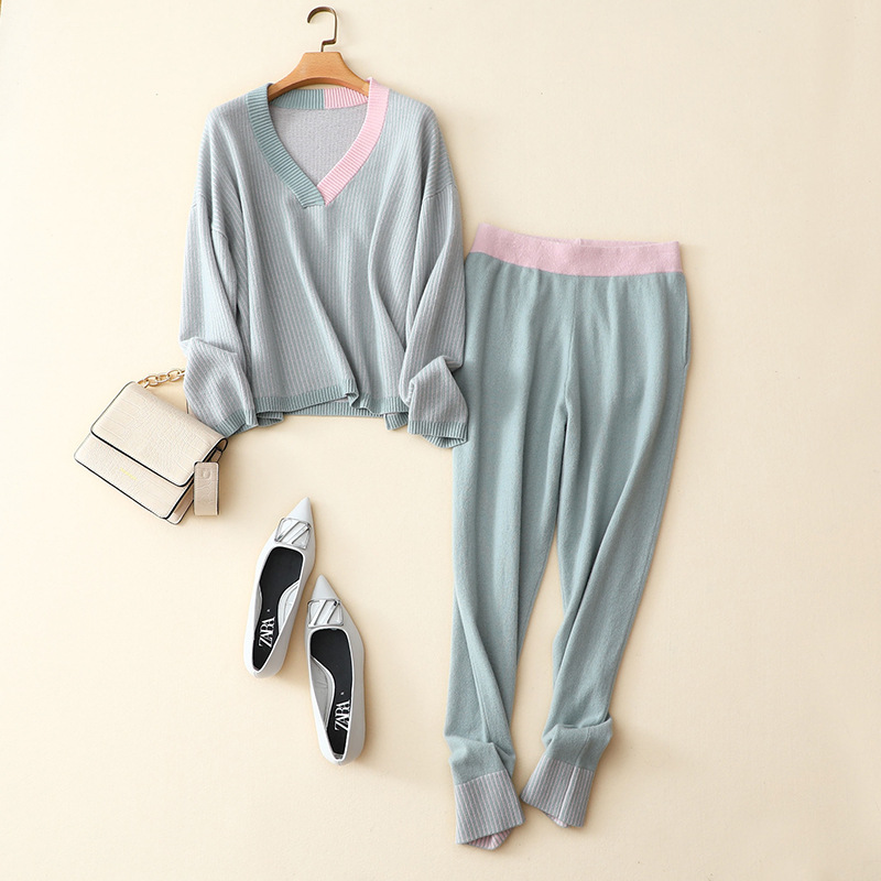 Shuchan 100% Cashmere Winter Warm Winter Two Piece Set Sweater V-Neck Pullover + Elastic Waist Pants To Ankle-Length Solid