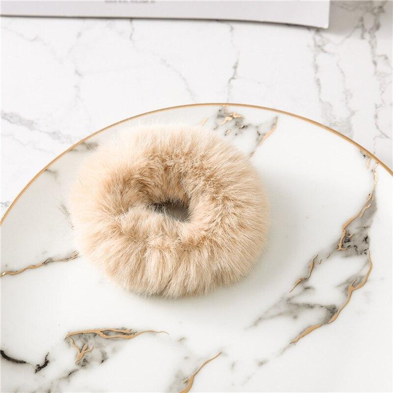 Милые эластичные резинки для волос для девочек, искусственный мех, резиновое эластичное кольцо, веревка, пушистый галстук, аксессуары для волос, меховые резинки, повязка на голову - Цвет: C9