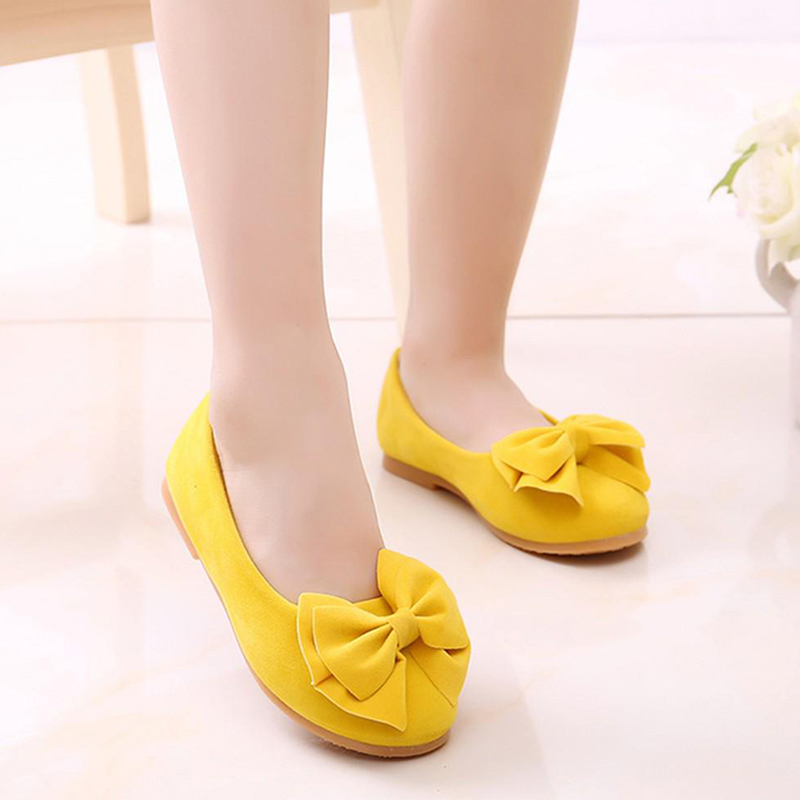 Children Baby Girl Velvet Princess Shoes Bowknot Solid Color Anti-slip Breathable Flats Shoes For Party M09