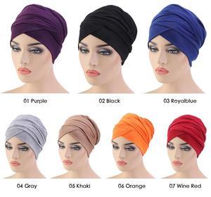 Image 2 - Женский мусульманский шарф с длинным хвостом, тюрбан, хиджаб, шапочка с раком, головной платок, простая повседневная бандана в арабском стиле